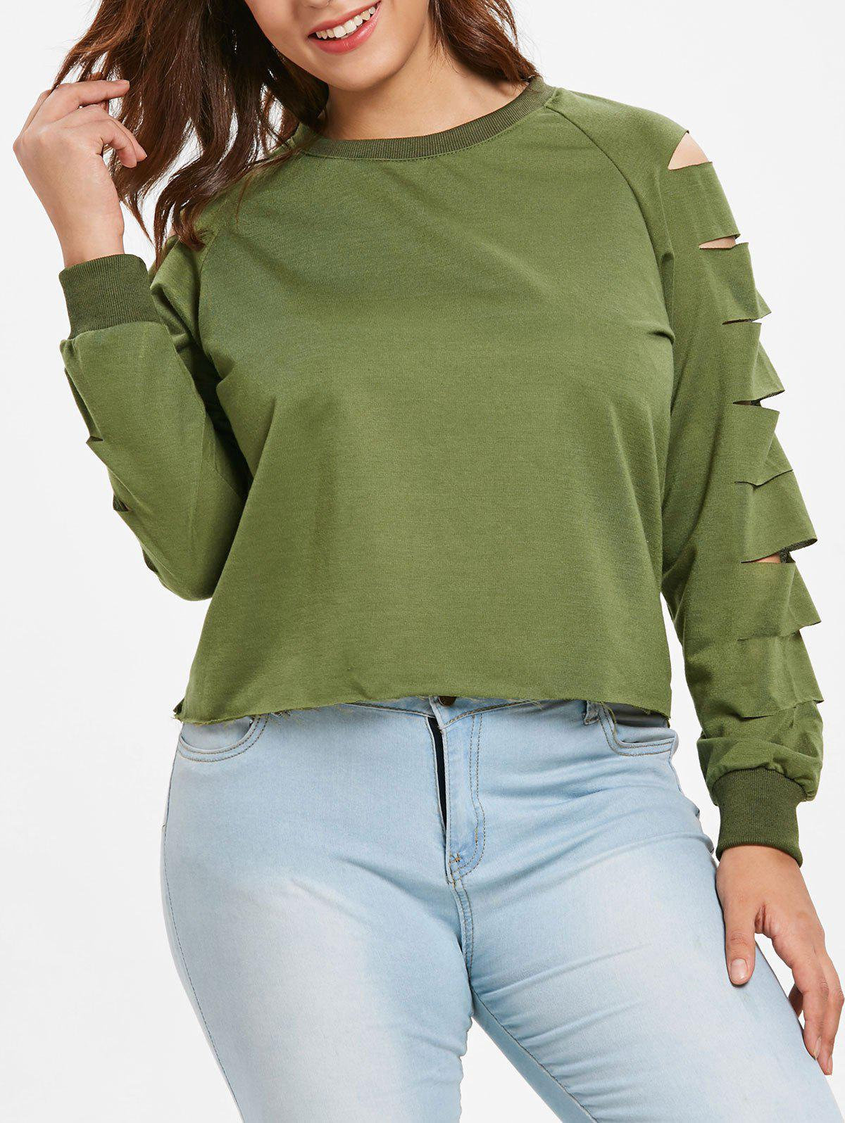 Plus Size Ladder Cut Out Sweatshirt Rosegal