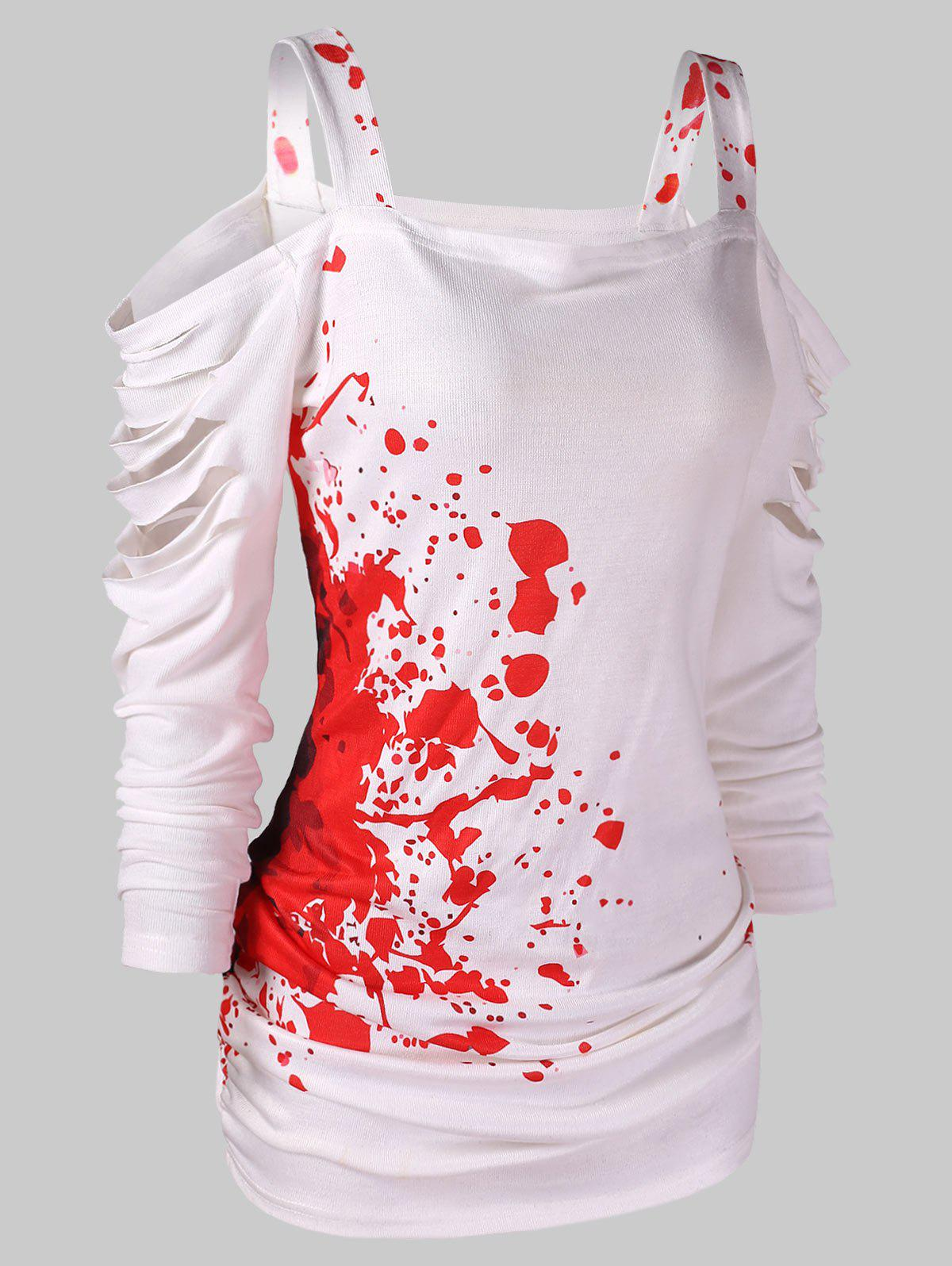 Buy Halloween Cold Shoulder Blood Splatter T-Shirt