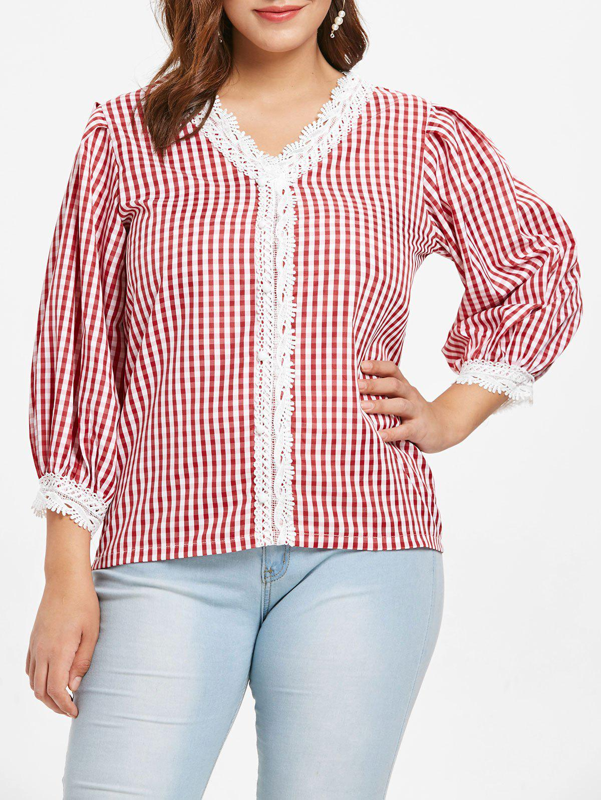 Hot Plus Size Plaid V Neck Blouse