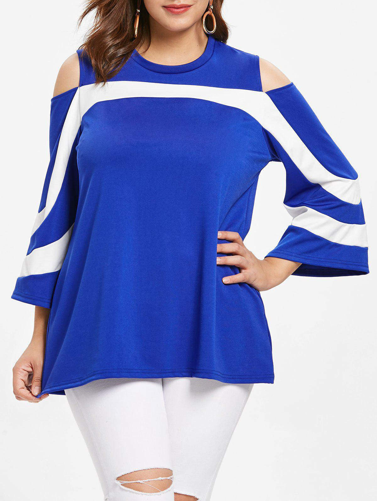 Fancy Plus Size Cold Shoulder Color Block T-shirt