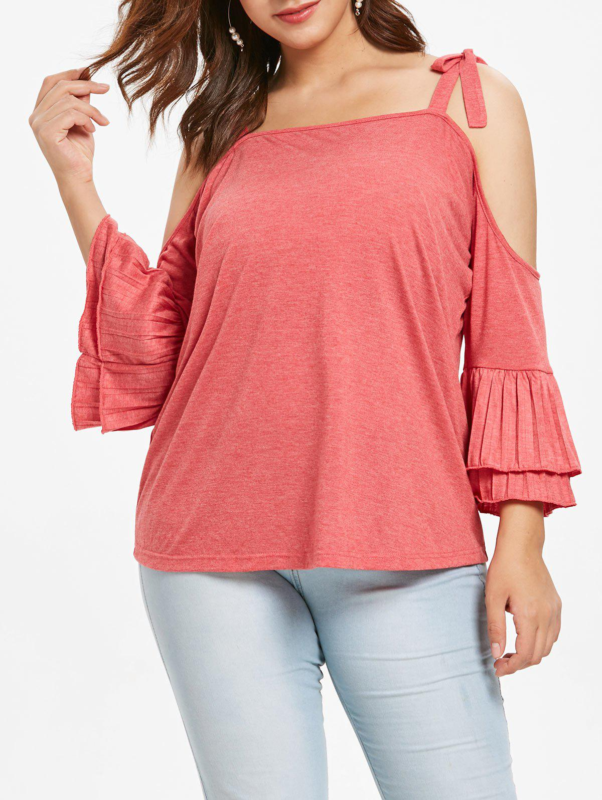 Outfits Plus Size Cold Shoulder Tee with Flounce