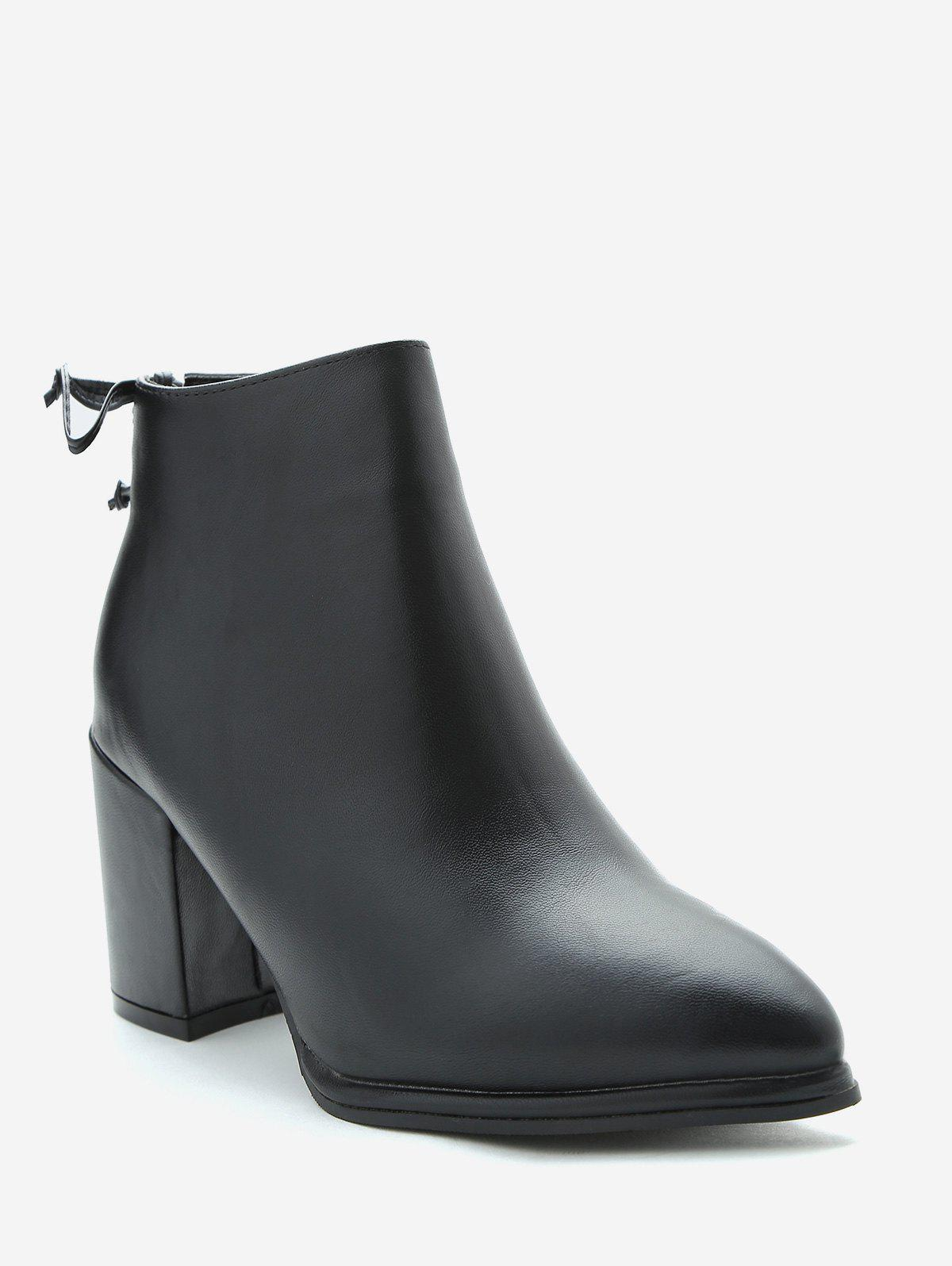 0fa1ced8534e 2019 Chunky Heel Tie Back Ankle Boots