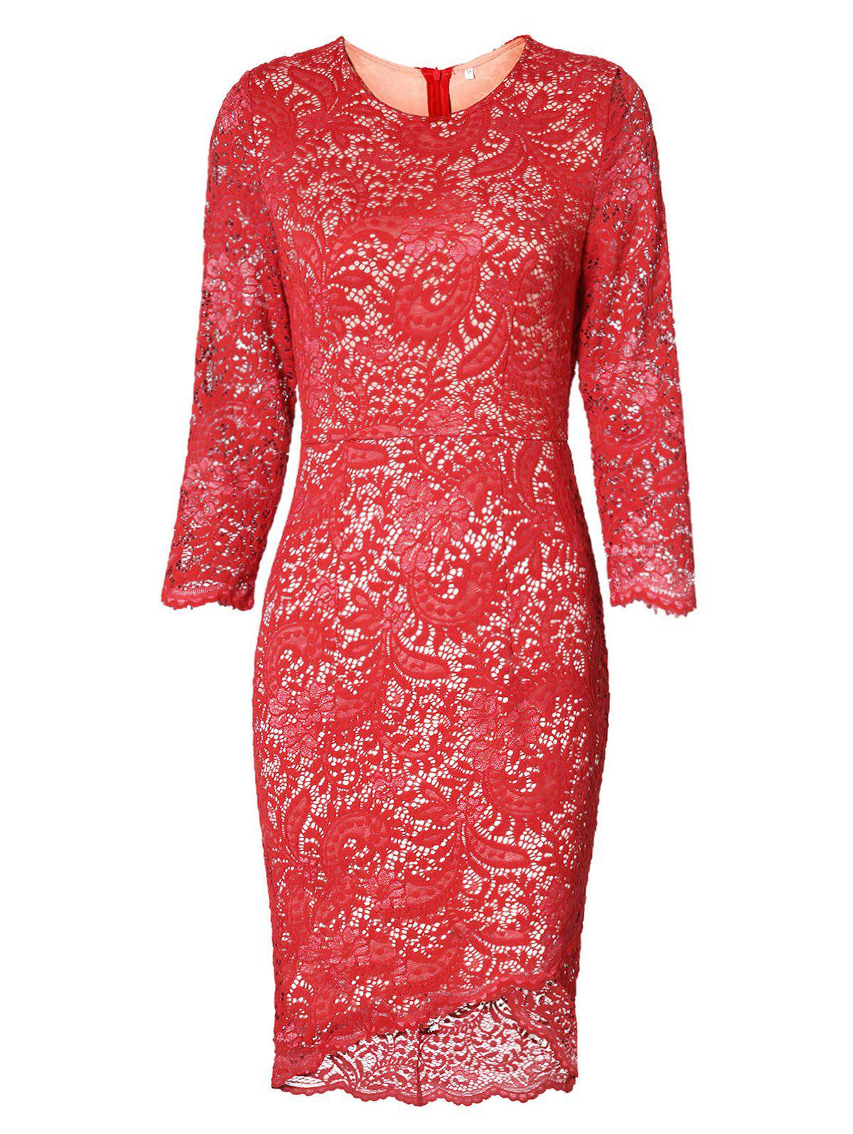 Discount High Low Bodycon Lace Dress