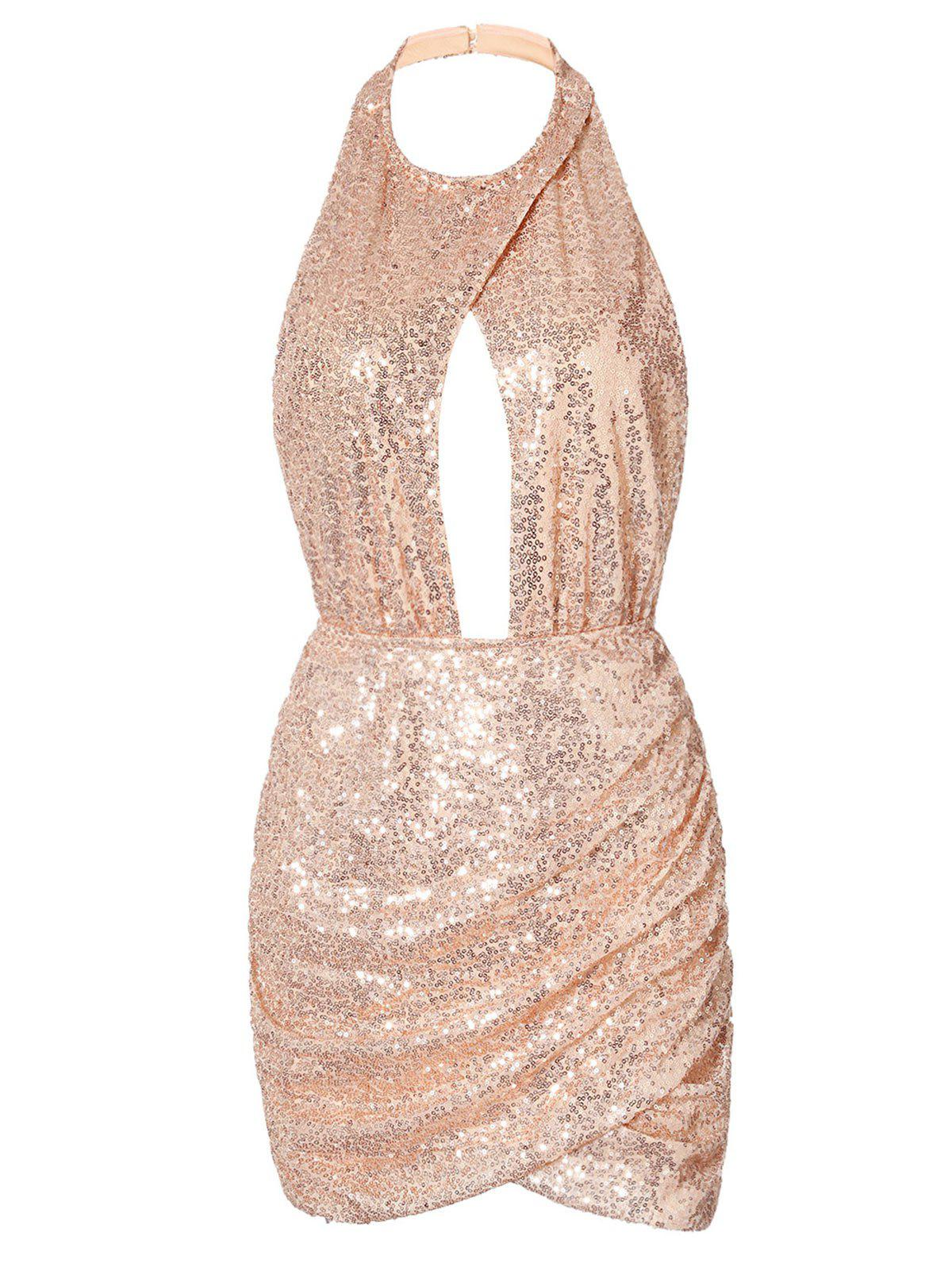 Fashion Cut Out Backless Sequin Dress