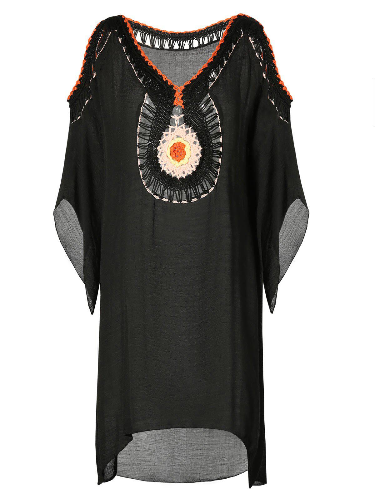 Fashion Crochet Detail High Low Cover Up Dress