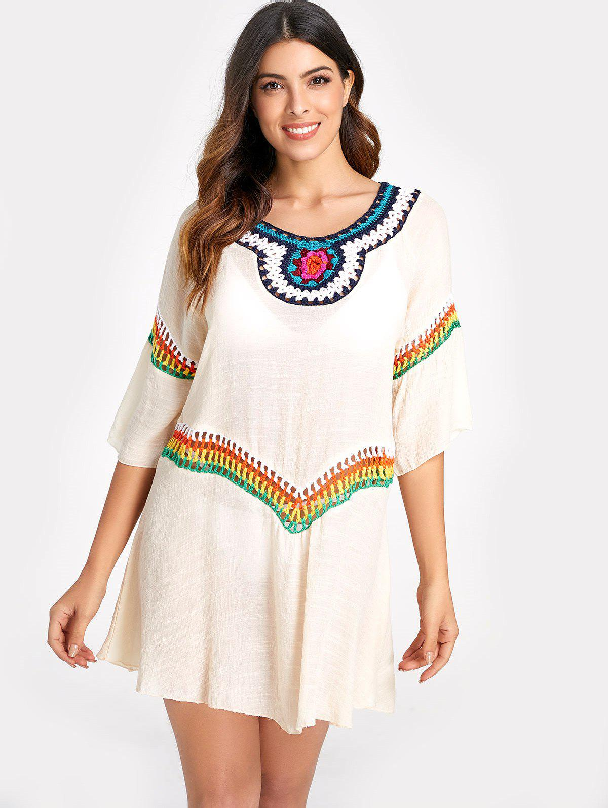 Unique Raglan Sleeve Cover Up Dress with Crochet
