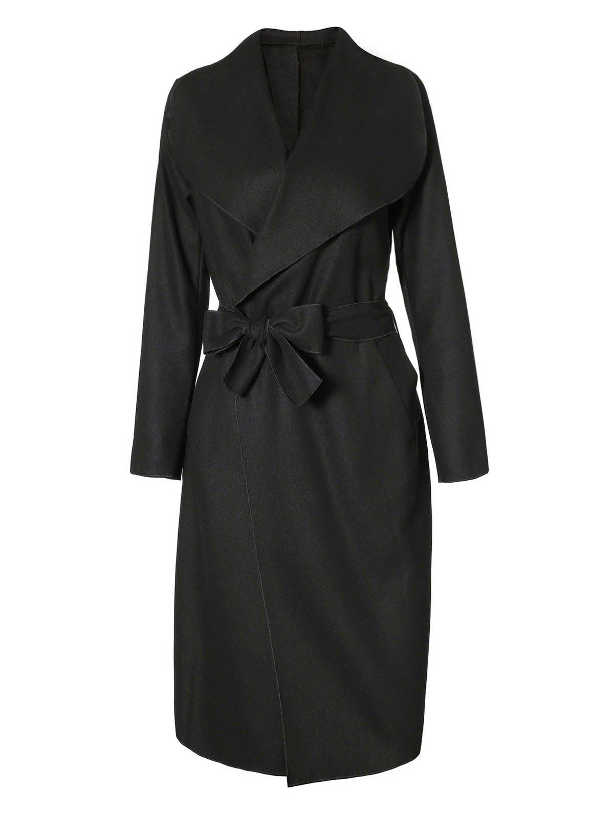Online Belted Long Coat with Pockets