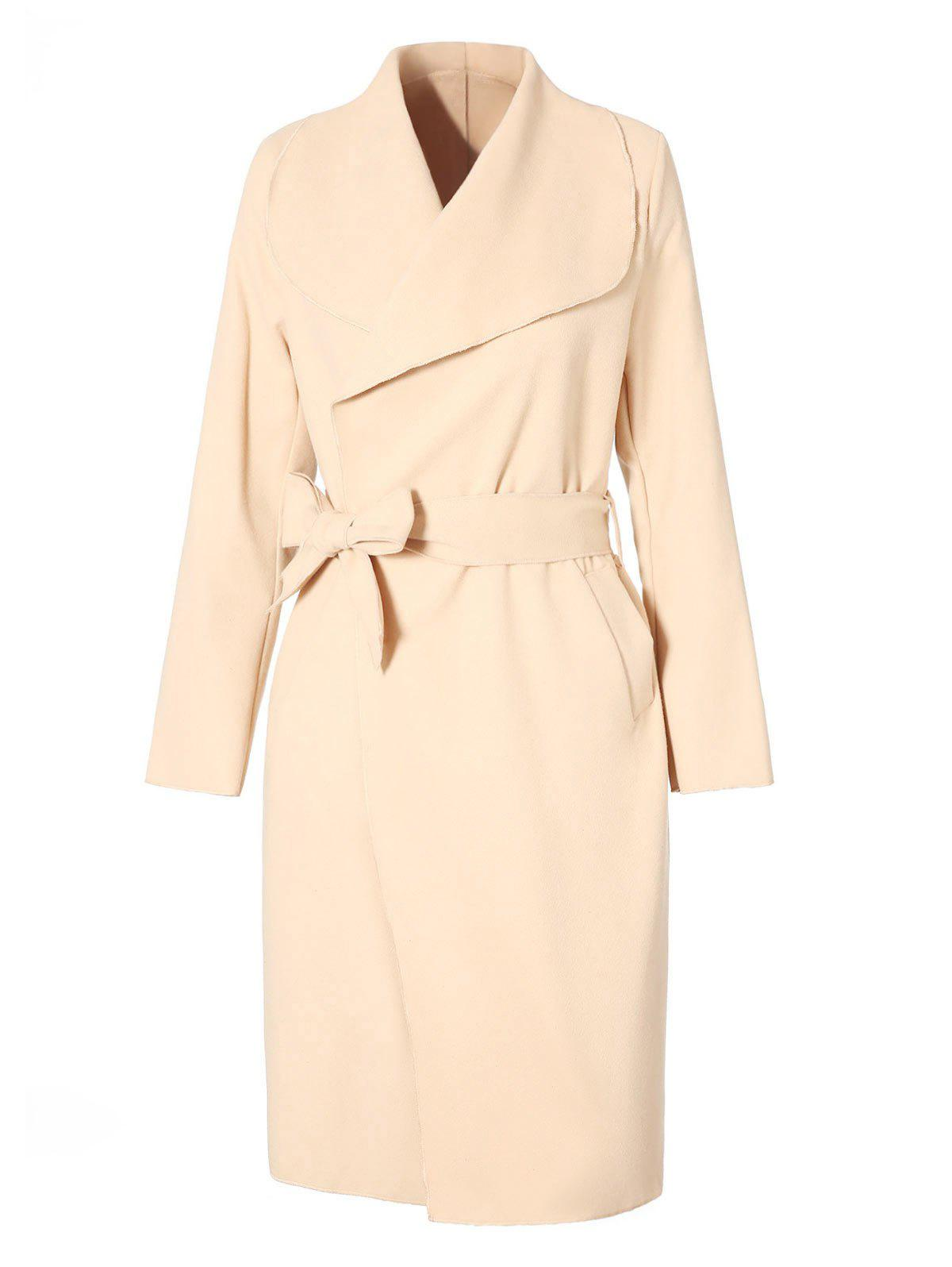 Trendy Belted Long Coat with Pockets