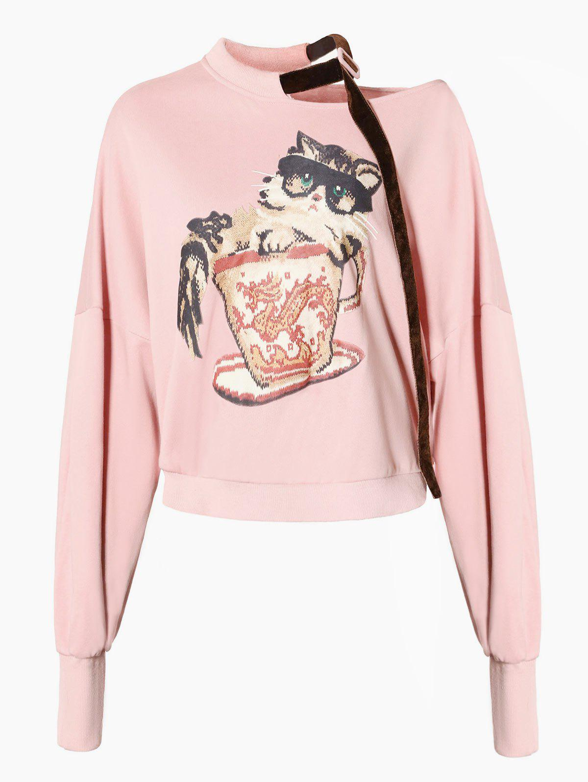Shop Skew Neck Drop Shoulder Graphic Sweatshirt