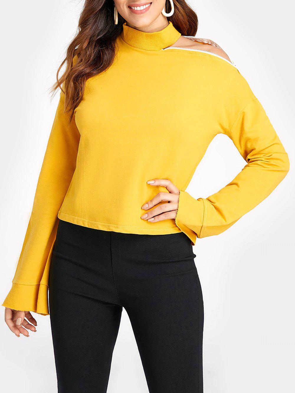 Buy Stand Collar Cold Shoulder Sweatshirt