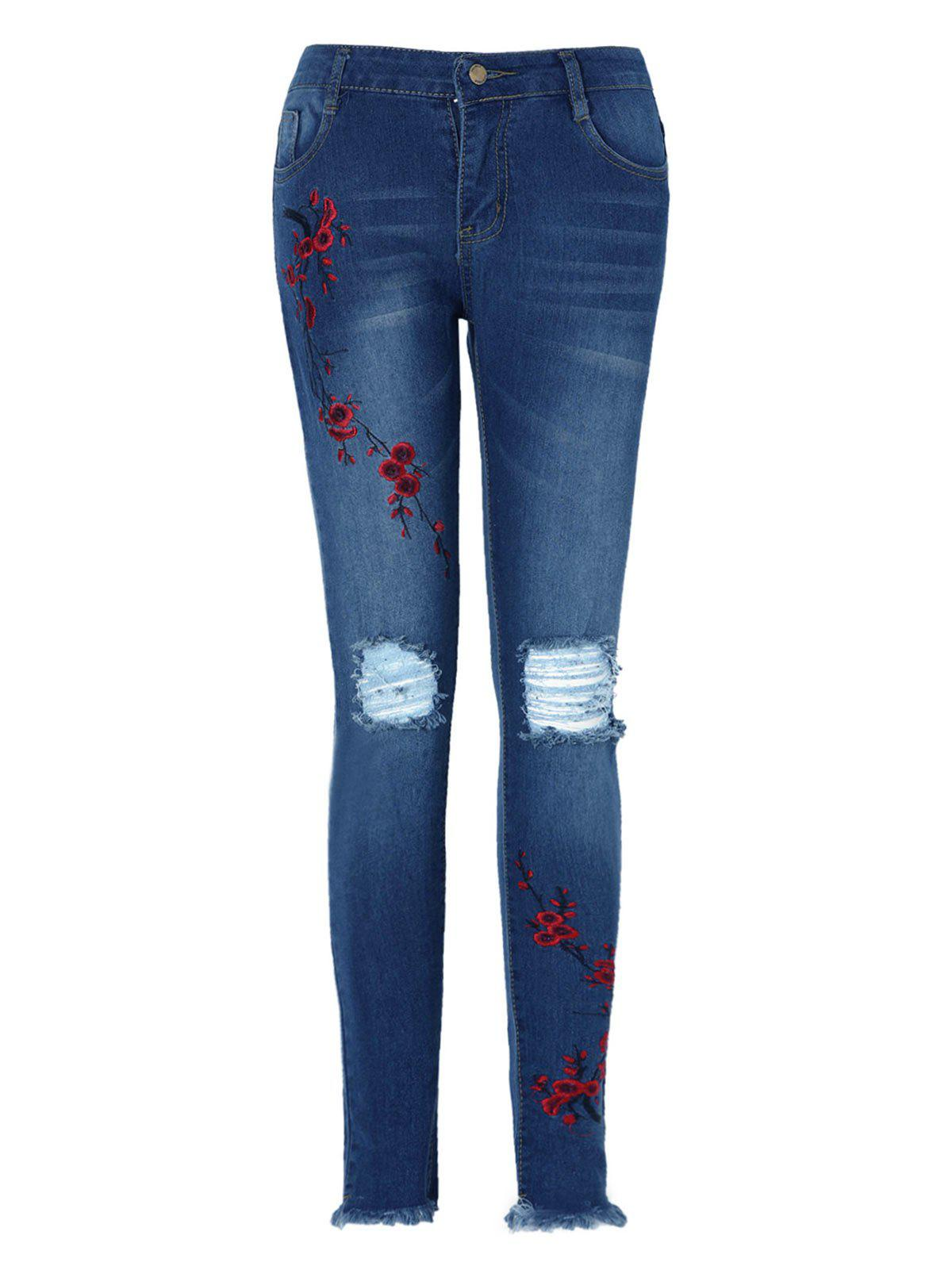 Shop Floral Embroidered Ripped Jeans