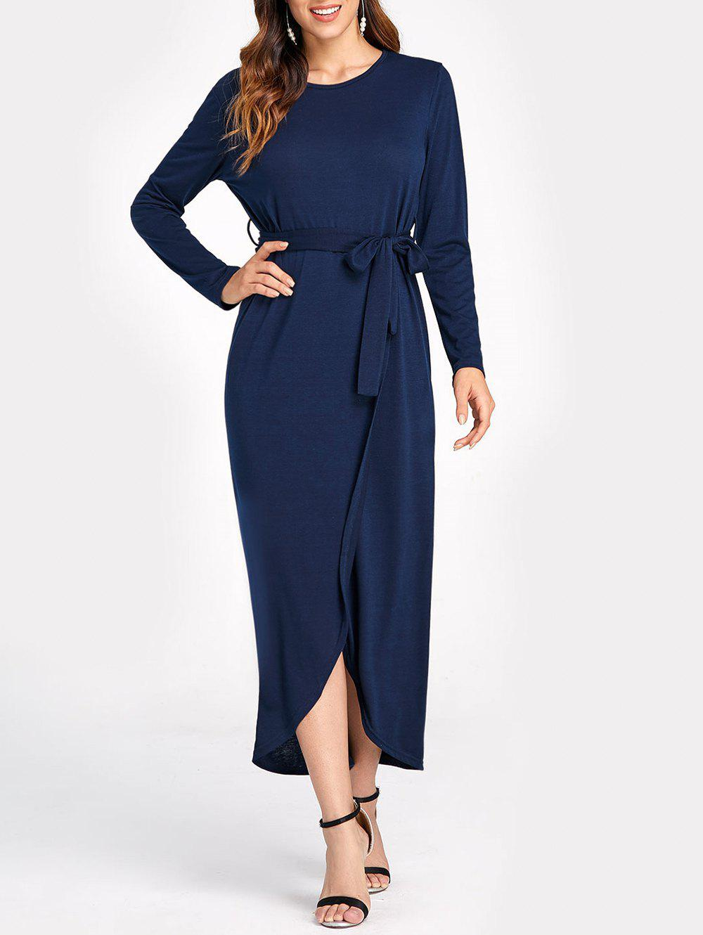 Chic Asymmetric Belted High Split Maxi Dress