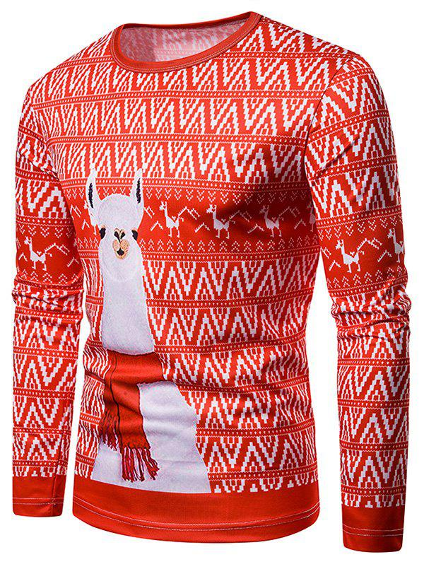 Store Christmas Alpaca Printed Long Sleeves T-shirt