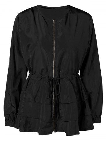 Plus Size Drawstring Zipper Layered Peplum Jacket