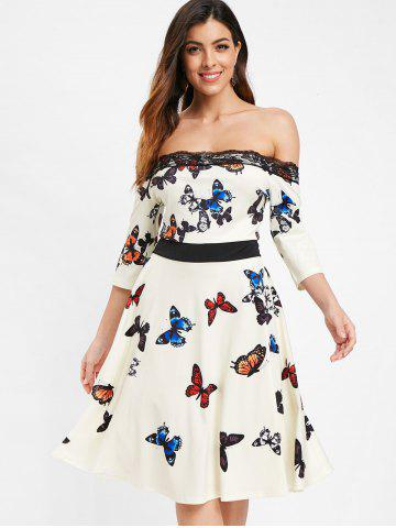 Butterflies Print Off The Shoulder Dress