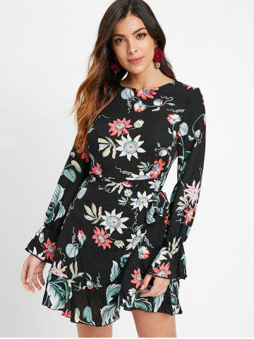 Tie Knot Long Sleeve Floral Dress