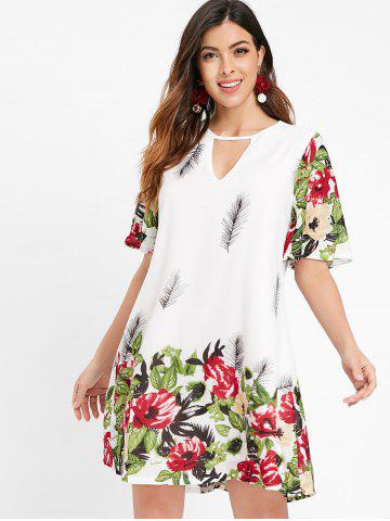 Flare Sleeve Keyhole Floral Dress