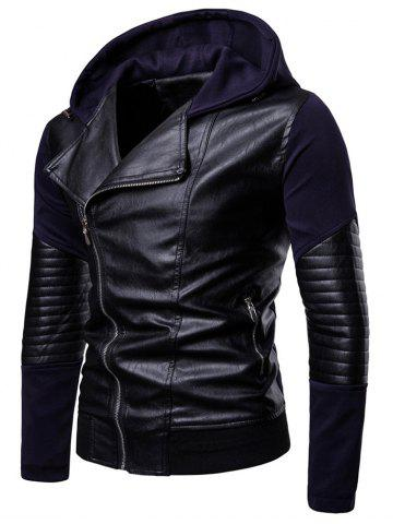 Hooded Zip Up PU Insert Jacket