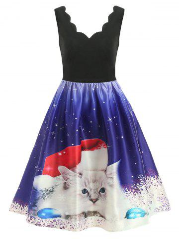 Christmas Cat Print Sleeveless Scalloped Dress