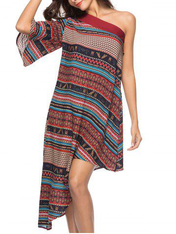 Bohemian One Shoulder Ethnic Print Midi Dress