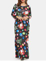 Plus Size Christmas Tree Snowman Graphic Maxi Dress -