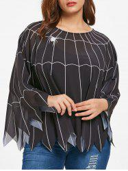 Halloween Plus Size Spider Web Poncho Blouse -