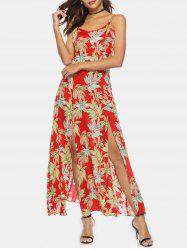 Bohemian Palm Print High Slit Maxi Dress -