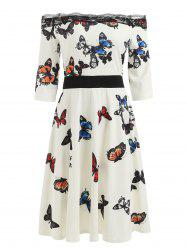 Butterflies Print Off The Shoulder Dress -