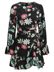Tie Knot Floral Dress à manches longues -