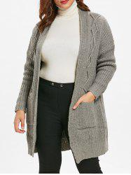 Cable Knit Plus Size Front Pockets Cardigan -