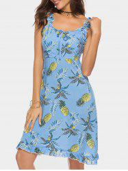 Bohemian Pineapple Print Flounce Dress -