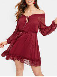 Off The Shoulder Tassel Chiffon Dress -