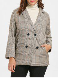 Plus Size Plaid Vintage Blazer -