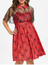 Halloween Plus Size Spider Web Dress -