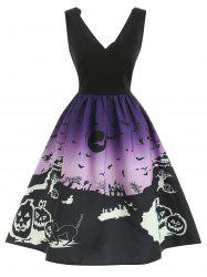 Halloween Sleeveless Scalloped Dress -