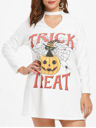 Plus Size Keyhole Halloween Pumpkin Dress -