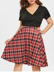 Tartan Print Plus Size Surplice Neck Fit and Flare Dress -