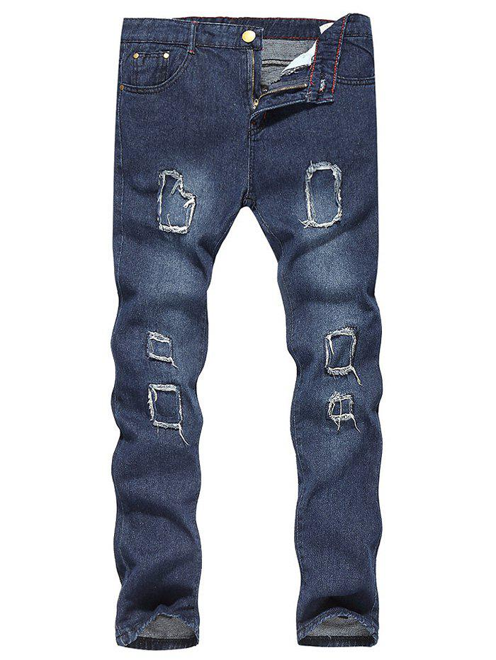Store Patched Zip Fly Bleached Jeans
