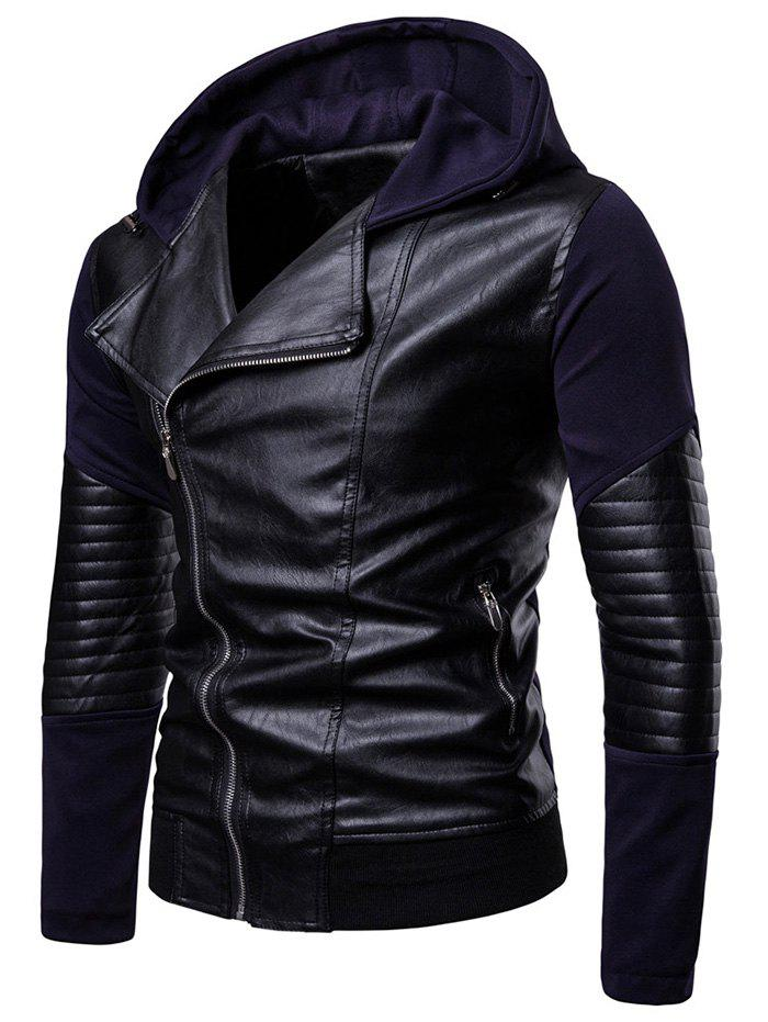 Latest Hooded Zip Up PU Insert Jacket