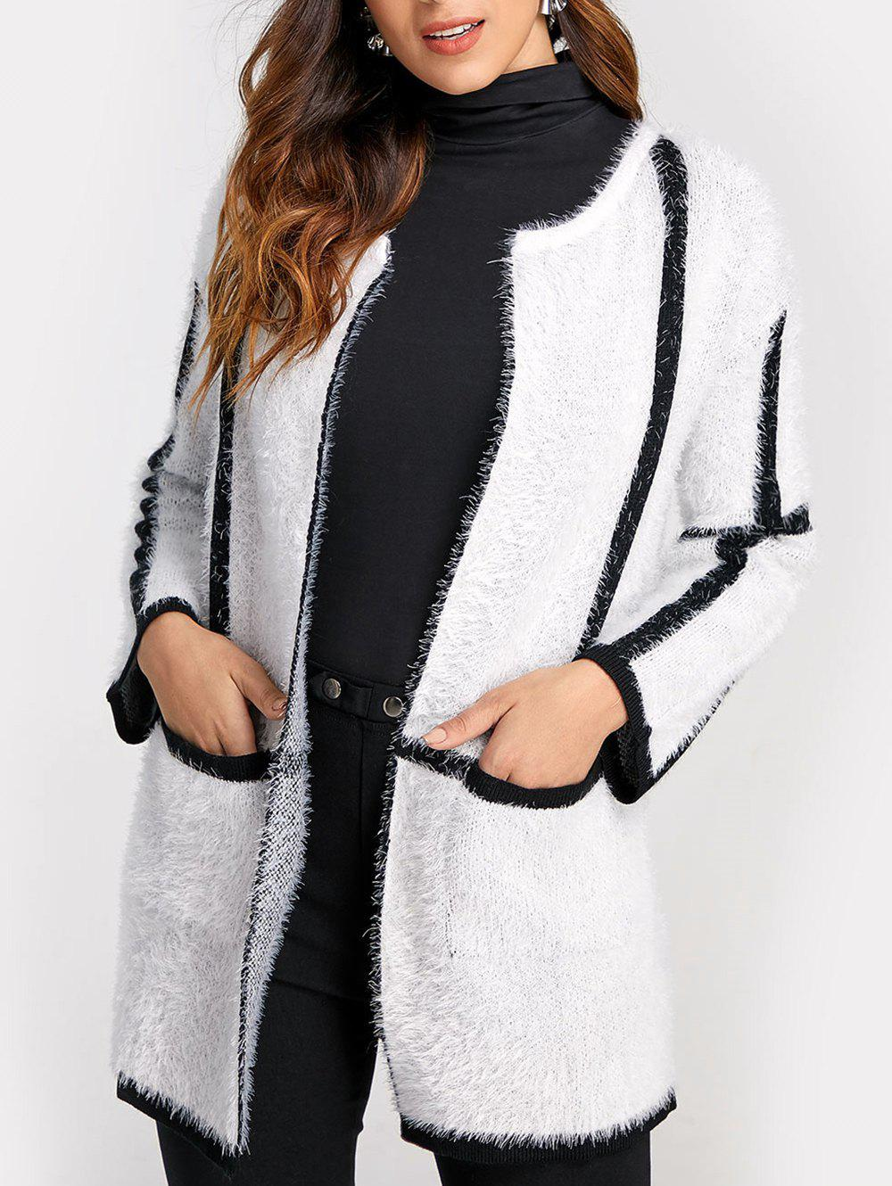 66826cc734 2019 Color Block Open Front Fluffy Cardigan