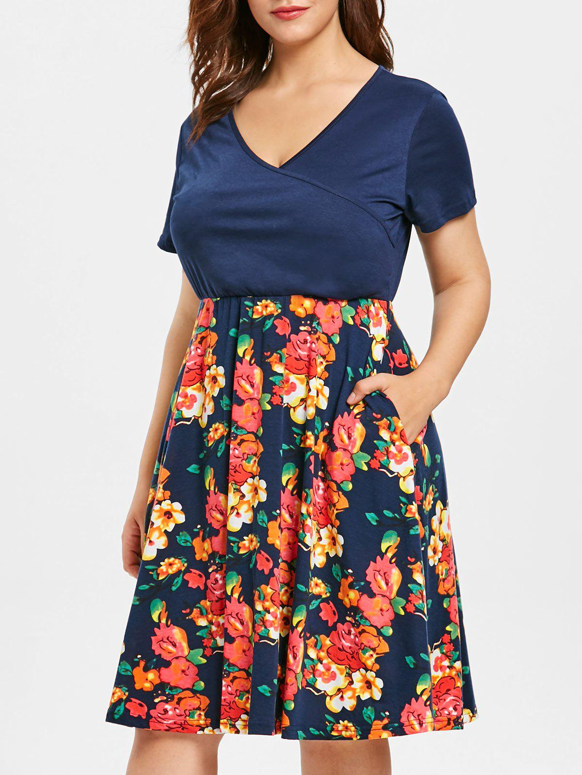 42% OFF] Floral Print Plus Size Surplice Neck Fit And Flare Dress ...