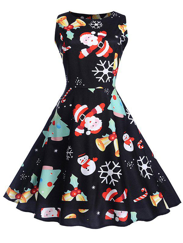Online Vintage Christmas Printed High Waist Dress