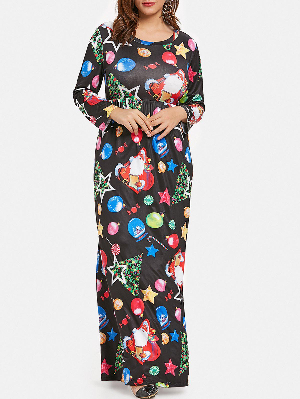 Buy Plus Size Christmas Tree Snowman Graphic Maxi Dress