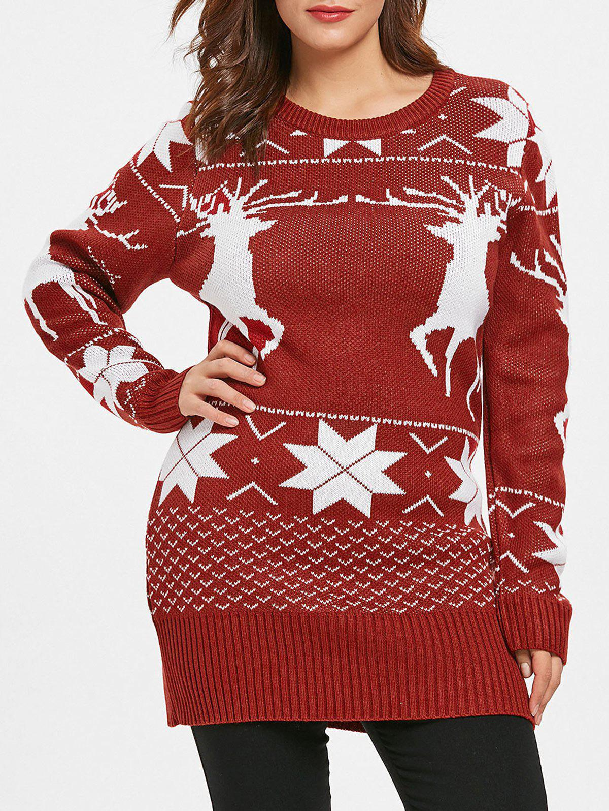 Affordable Plus Size Reindeer Christmas Sweater