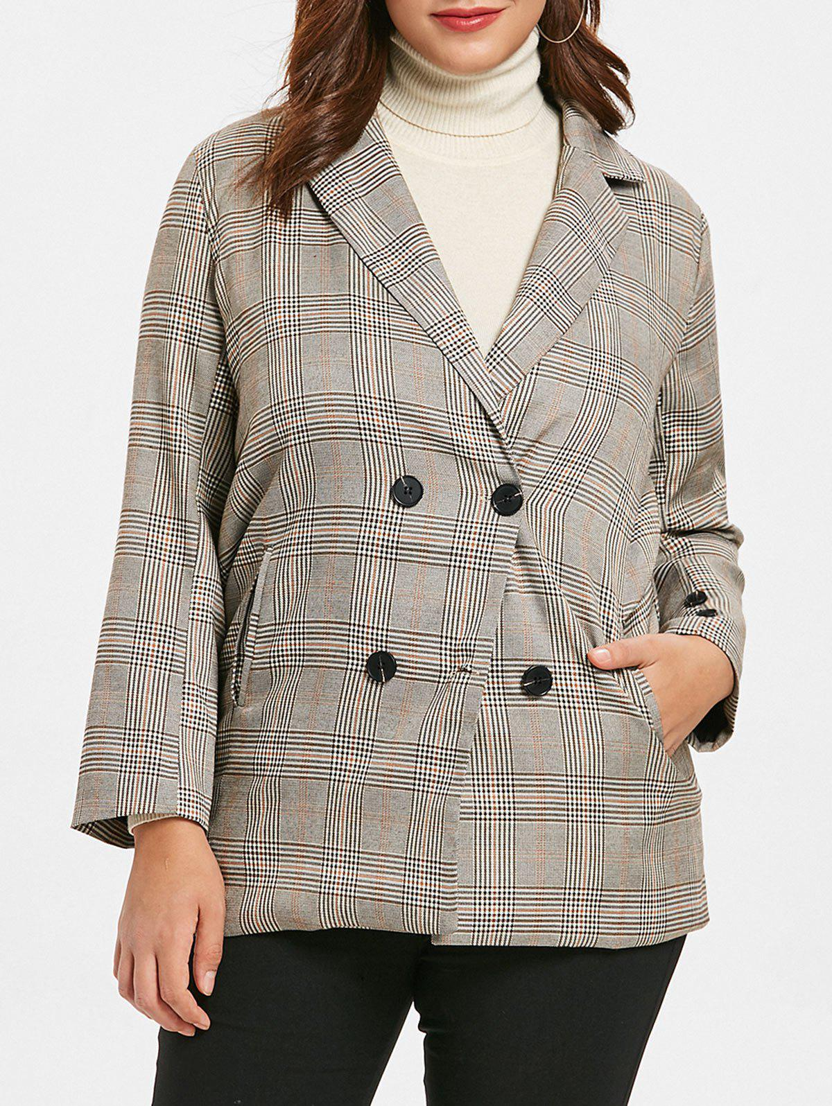 Outfit Plus Size Plaid Vintage Blazer