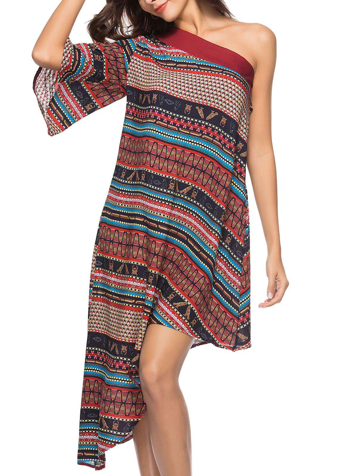 49% OFF   2019 Bohemian One Shoulder Ethnic Print Midi Dress ... 958c1a691