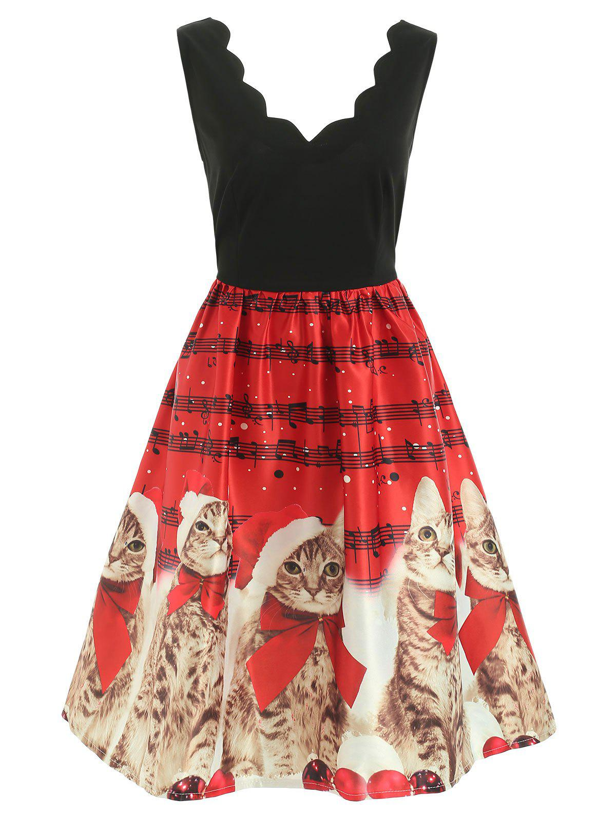 Discount Christmas Musical Notes and Cats Print Dress