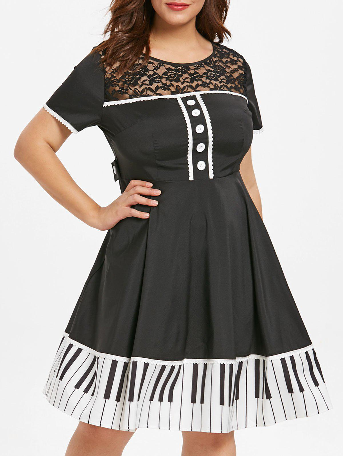 Plus Size Contrast Vintage Dress with Lace Panel Rosegal