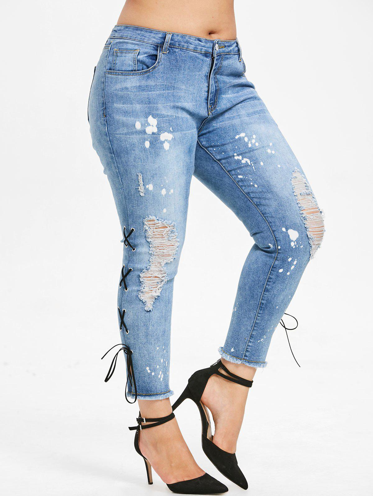 Affordable Plus Size Lace Up Skinny Distressed Jeans