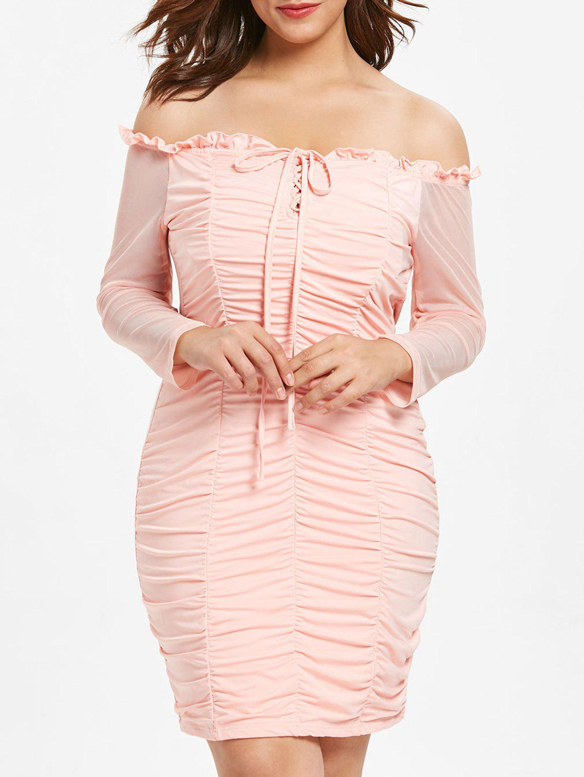 2bdb9d32eb7 33% OFF  Plus Size Lace Up Ruched Bodycon Dress